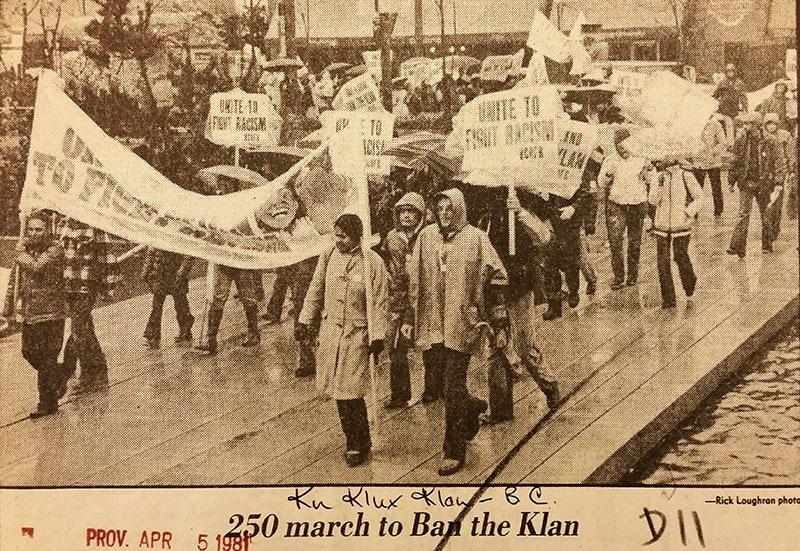 """Ban the Klan"" demonstration. Vancouver Province, 5 April 1981."