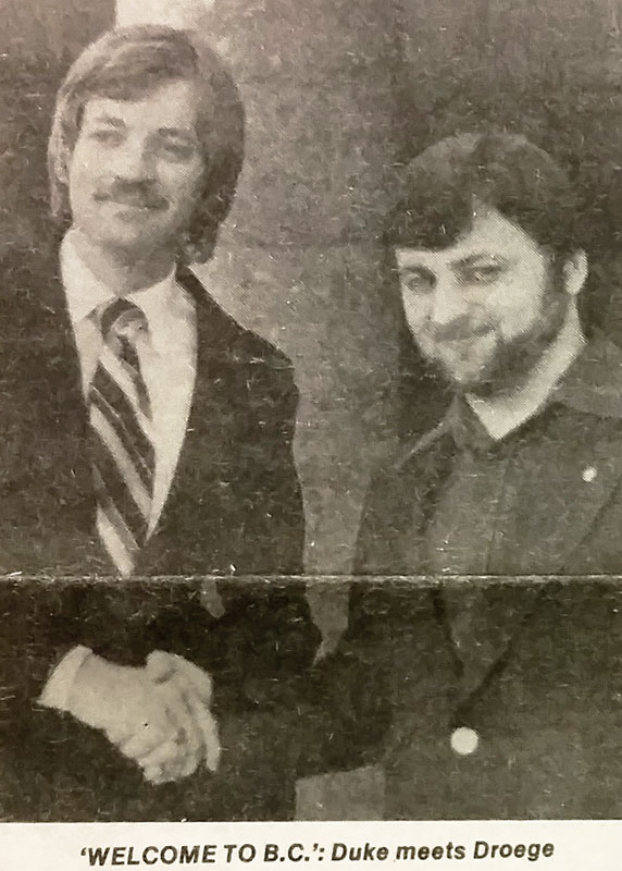 """""""Grand Wizard"""" David Duke and organizer for Western Canada, Wolfgang Droege of Victoria. Vancouver Courier, 19 April 1979."""