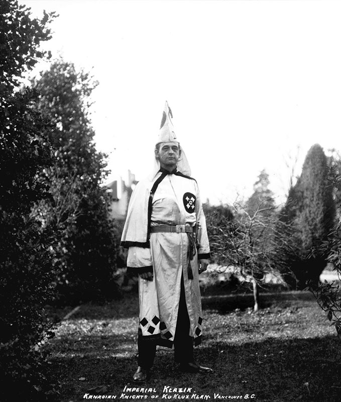 Luther Powell, Imperial Klazik of the Kanadian Knights of the Ku Klux Klan, Shaughnessy, 1925. Photo by Stuart Thomson, City of Vancouver Archives #Dr. Keith K Allen, Imperial Klaliff of the KKK, Shaughnessy Heights, 1925. Photo by Stuart Thomson, City of Vancouver Archives #99-1502.