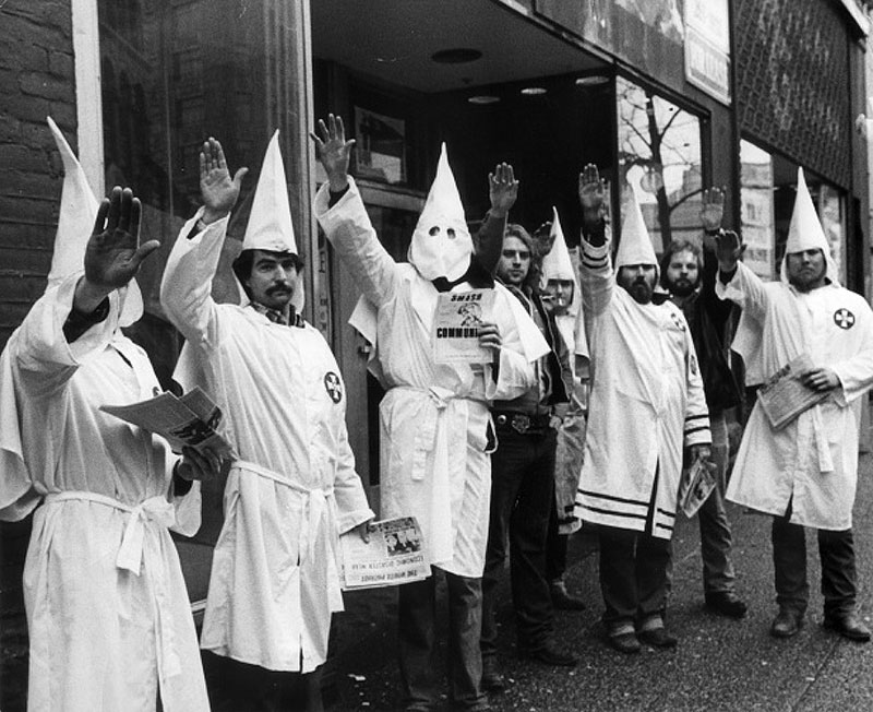 Klansmen leafletting on East Hastings, February 1982. Photo by George Diack for the Vancouver Sun.