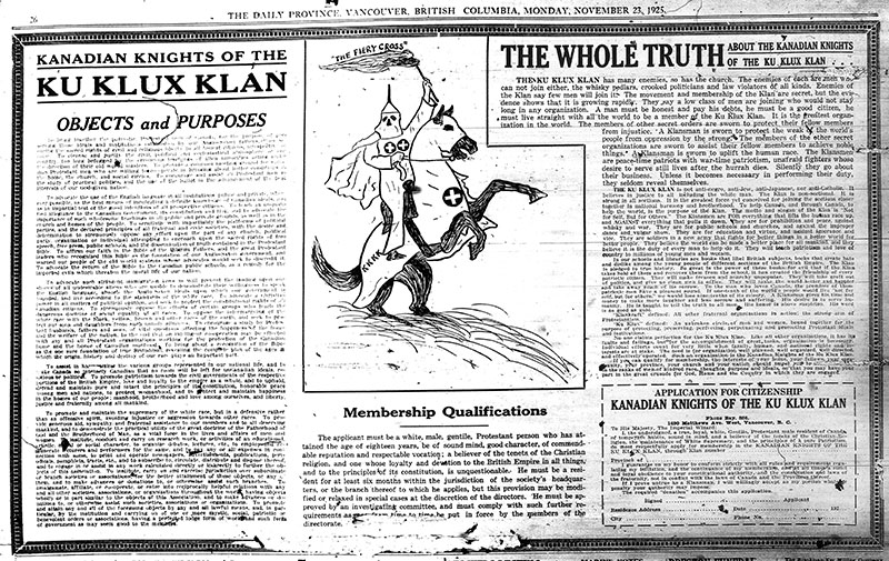 An advertisement for the KKK in the Daily Province, 23 November 1925.