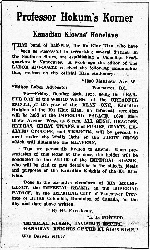 An invitation to the opening reception at Klan headquarters, with commentary, published in the Labor Advocate, 6 November 1925.
