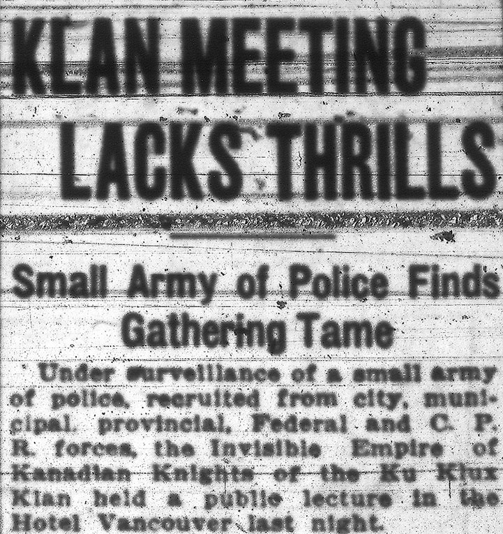 Headline for the KKK's lacklustre public meeting at Hotel Vancouver. Vancouver Sun 13 November 1925.