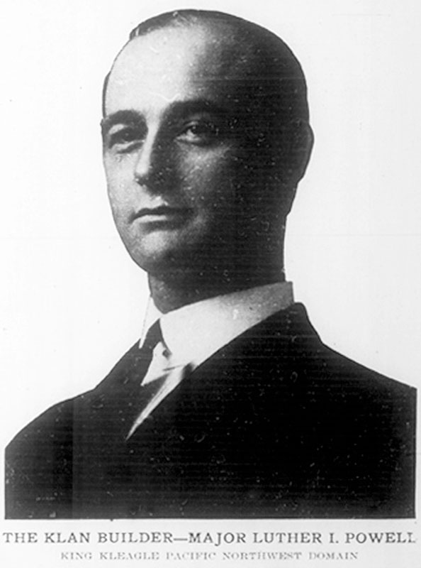 """Luther Powell, the """"Imperial Klazik"""" of the Vancouver Klan, from a Seattle KKK newspaper, The Watcher on the Tower, 27 October 1923."""