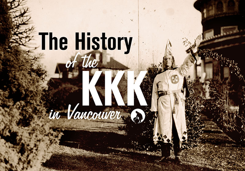 Title image showing Luther Powell saluting outside Klan Headquarters in Shaughnessy Heights in November 1925. Photo by Stuart Thompson, City of Vancouver Archives #99-1499.
