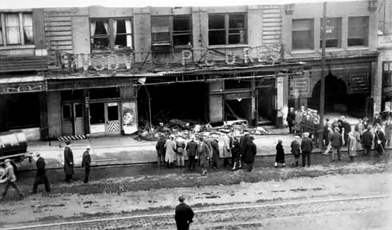 View of the damage to the Royal Theatre taken from the Maple Hotel across the street, March 1933. Photo courtesy Vancouver Public Library #9116.