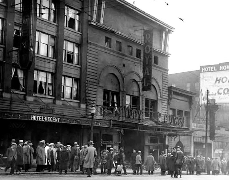The bombed out Royal Theatre in March 1933. Photo by Stuart Thomson, Vancouver Public Library #9116B.