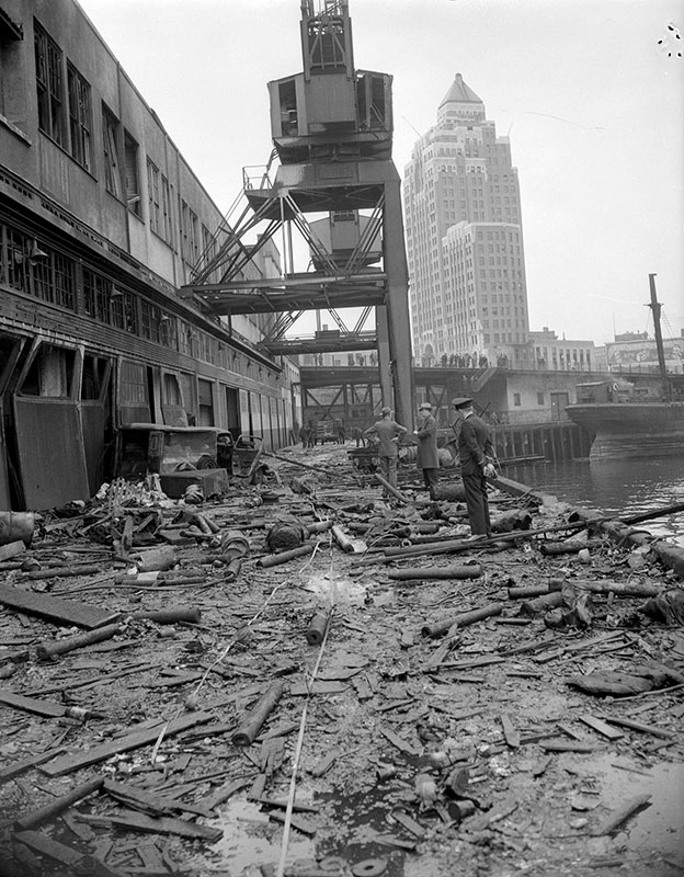 Damage cause by the Greenhill Park explosion, 1945. Photo by Don Coltman, City of Vancouver Archives #586-3598.