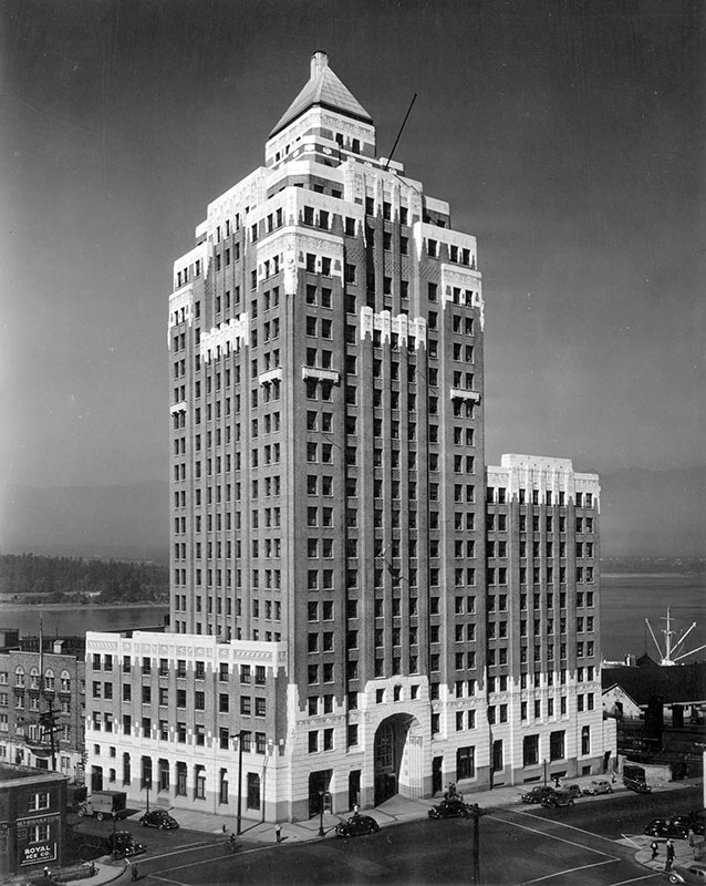 The Marine Building in 1947. Photo by Leonard Frank, City of Vancouver Archives #Bu P346