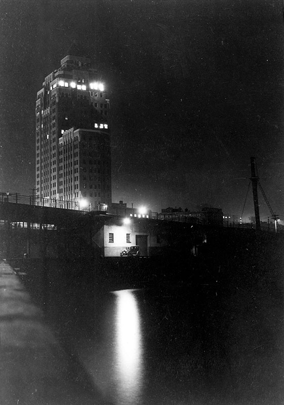 The Marine Building at night, 1936. Photo by Karl Haspel, City of Vancouver Archives #300-8.