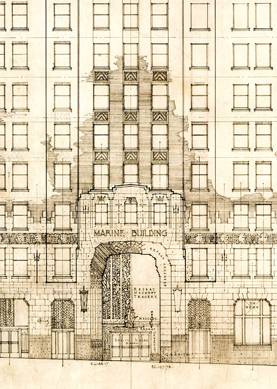 Architect's drawing of the Burrard Street entrance to the Marine Building, 1929. McCarter & Nairne, University of Calgary #MCA447-63a.