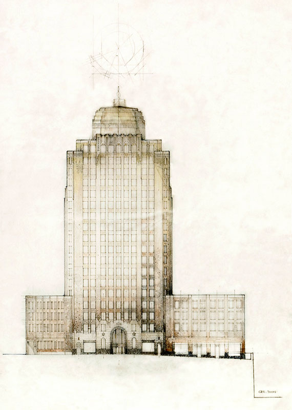 An early architect's drawing of the Marine Building on Burrard Street, before the design was finalized. McCarter & Nairne, University of Calgary #MCA447-10.