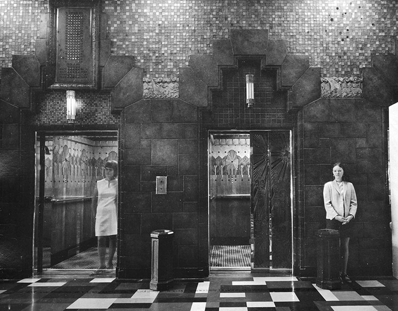 The Marine Building employed young women to operate the elevators into the 1970s. Photo by Art Grice, City of Vancouver Archives #677-915.