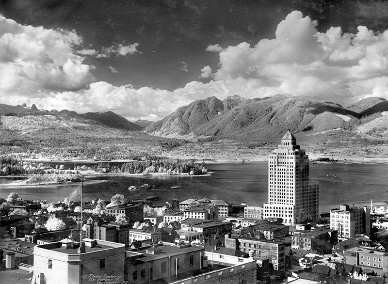 As good looking as it is, the Marine Building has tough competition from the scenic backdrop in 1931. Take from the 2nd Hotel Vancouver by J. Fred Spalding, City of Vancouver Archives #371-1157.