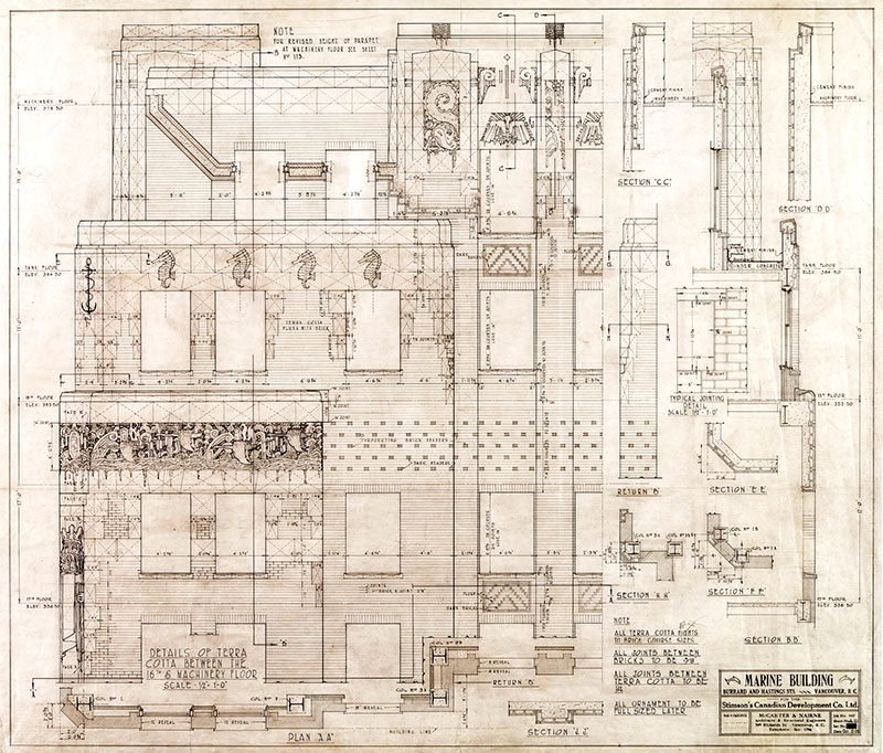 Architect's drawing of terra cotta details of the Marine Building, 1929. McCarter & Nairne, University of Calgary #MCA447-104.