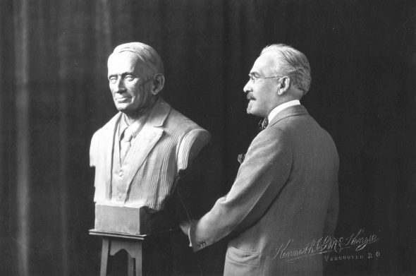 Charles Marega with one of his sculptures