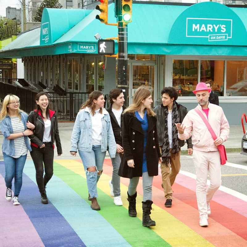 The Really Gay History Tour, with Mary's On Davie in the background - Photo Credit: Kiri Marr Photography