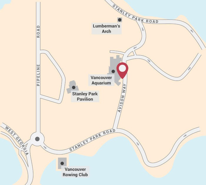 Dark Secrets of Stanley Park Walking Tour Start Point Map